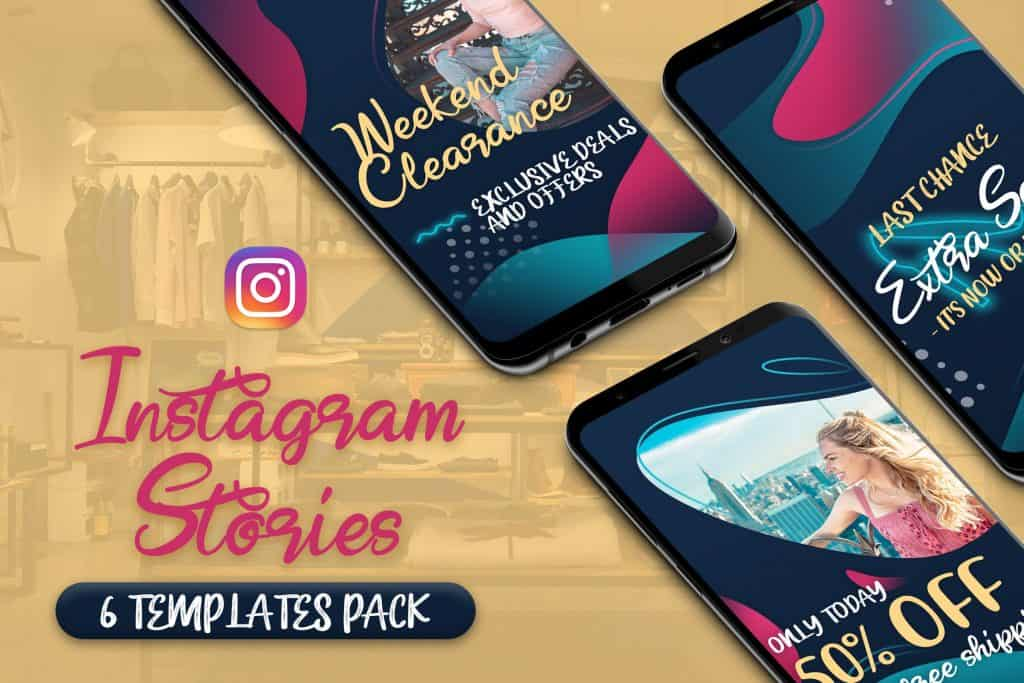Instagram Stories 6 Templates PSD Pack